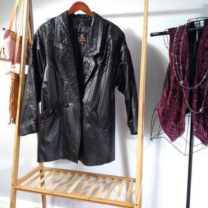Embossed Genuine Leather Trenchcoat Jacket S